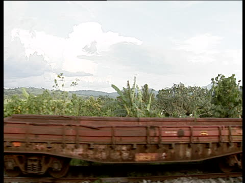 track left from train past rusty freight carriages tree covered landscape with distant mountains behind cuba - imperfection stock videos & royalty-free footage