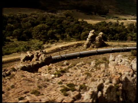 Track left over train as it travels alongside canal through rocky semi desert landscape Karoo Desert