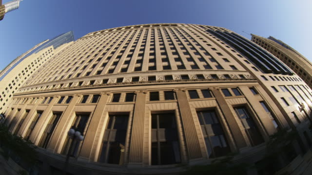 WS LA track left past buildings Chicago Loop fisheye day