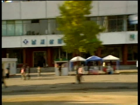 track left past municipal buildings and trading stalls pyongyang; 2005 - north korea stock videos & royalty-free footage