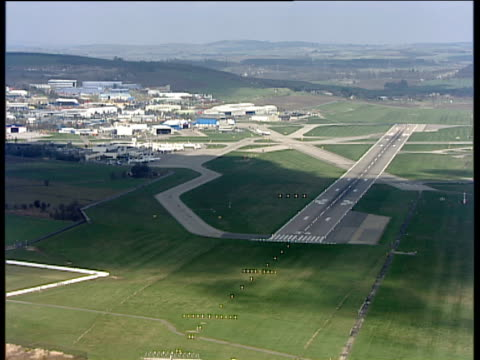 track left past the runway at aberdeen airport - aberdeen scotland stock videos & royalty-free footage