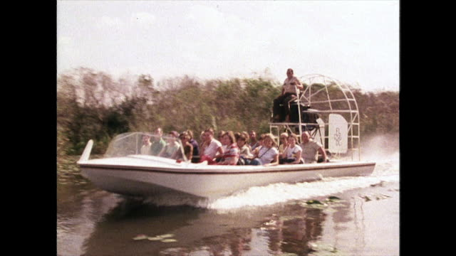 track of airboat in reeds in florida everglades; 1980 - everglades national park stock videos & royalty-free footage