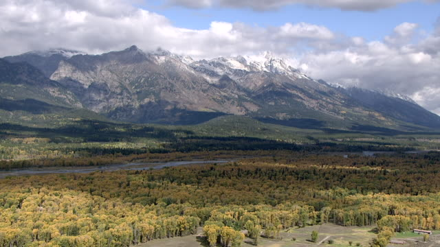 track over autumnal forested mountains, yellowstone, usa - yellowstone national park stock videos & royalty-free footage