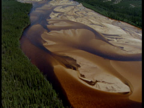 track over brown river and forest, lake athabasca, saskatchewan - saskatchewan stock videos and b-roll footage