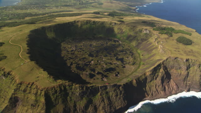 Track over extinct Rano Kau volcano crater, Easter Island