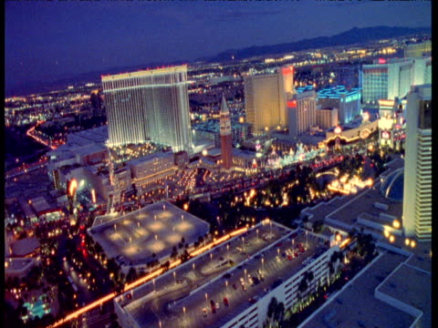 track over hotels, casinos and streets at night, las vegas - casino stock videos & royalty-free footage