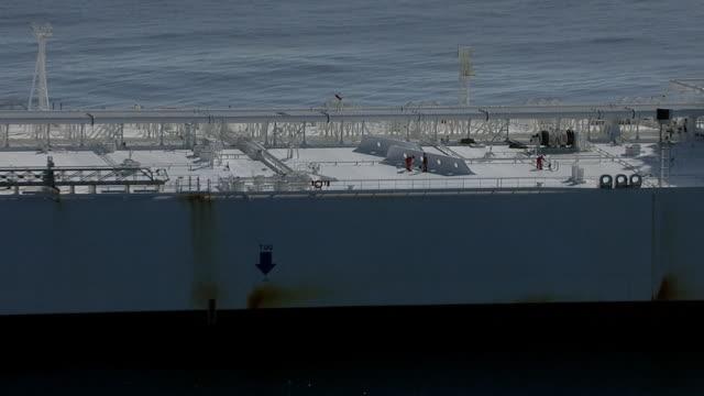 track over huge oil supertanker, pacific ocean - oil industry stock videos & royalty-free footage