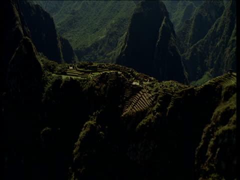 Track over Macchu Picchu Inca ruins