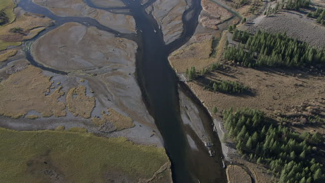 Track over meandering river tributaries, Yellowstone, USA
