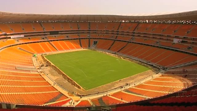 track over new world cup stadium ahead of 2010 tournament south africa; 2 march 2010 - fußballweltmeisterschaft 2010 stock-videos und b-roll-filmmaterial