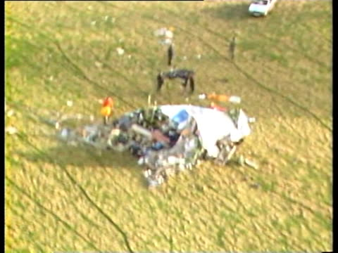 track over nose of plane and wreckage following lockerbie air crash - lockerbie stock videos & royalty-free footage
