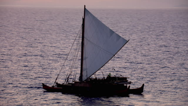 track over polynesian canoe sailing on pacific ocean at sunset, hawaii - polynesian culture stock videos & royalty-free footage