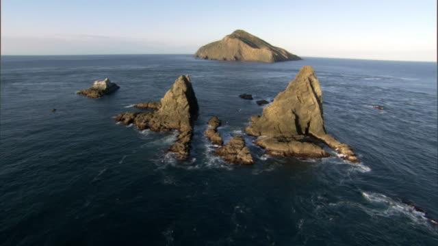 track over rocks towards stephens island, cook strait, new zealand - neuseeland stock-videos und b-roll-filmmaterial
