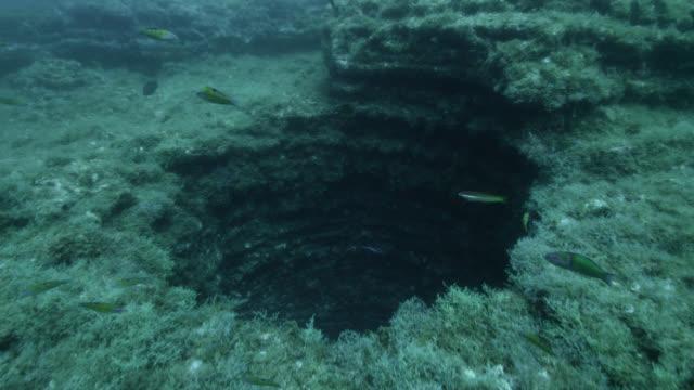 vídeos y material grabado en eventos de stock de track over round sinkhole on seabed, azores - agujero