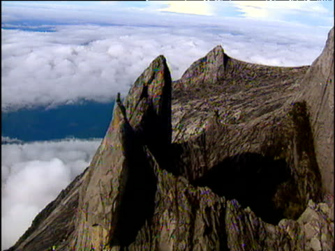 track over sharp rocky mountain peaks kinabalu national park borneo - mt kinabalu national park stock videos and b-roll footage