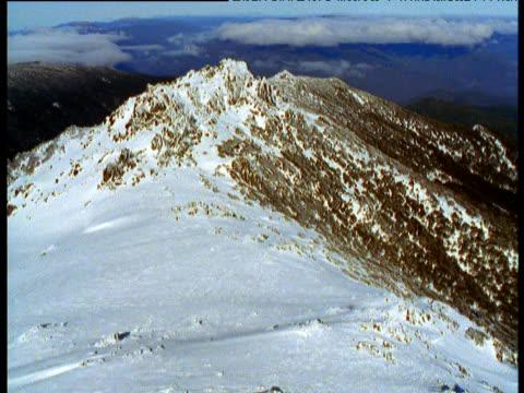 track over snowy peak in australian alps, plane shadow visible, victoria, australia - australian alps stock videos & royalty-free footage