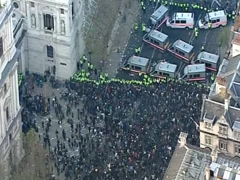 Track over students protesting in Whitehall against the proposed rises in university tuition fees