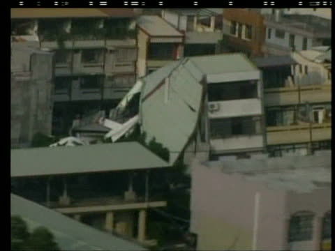 track over tented villages as survivors seek refuge following earthquake chi chi taiwan 23 september 1999 - taiwan stock videos & royalty-free footage