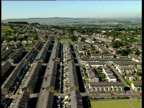 track over terraced houses and suburban streets of town surrounded by countryside lancashire - lancashire stock videos and b-roll footage