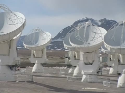 track over the telescope alma's giant antennas on top of one of the highest plateaus in chile - atacama large millimeter array stock videos and b-roll footage