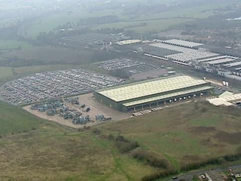 track over the vast longbridge car plant in birmingham; april 2000 - longbridge stock videos & royalty-free footage