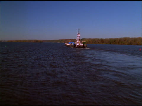 track over tugboat on river, rhinebeck, new york state - tugboat stock videos and b-roll footage