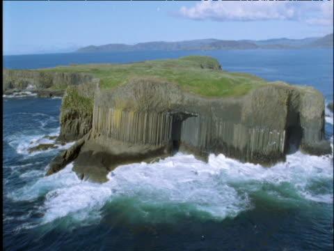 Track past Fingal's Cave and basalt columns Staffa Scottish Highlands