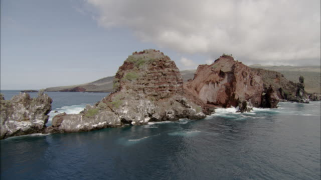 Track past jagged rocks, Galapagos Islands Available in HD.