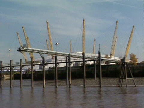 track past the millennium dome, london; 1999 - the o2 england stock videos & royalty-free footage
