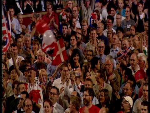 track right across standing and applauding audience during last night at the proms - royal albert hall stock videos and b-roll footage