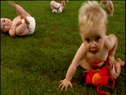 track right and tilt up over field of babies playing on green lawn - napkin stock videos and b-roll footage