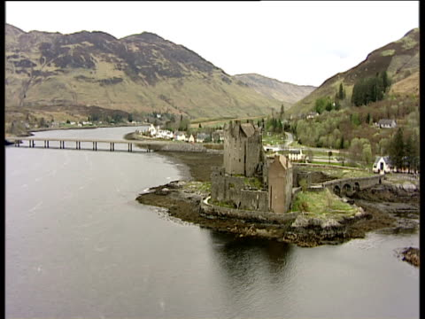 track right around eilean donan castle on loch alsh inverness-shire - inverness scotland stock videos & royalty-free footage