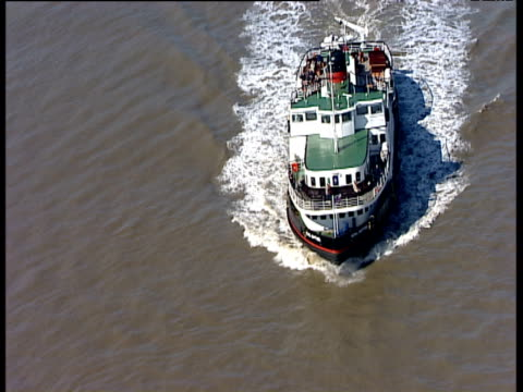 track right around ferry crossing river mersey liverpool - mersey ferry stock videos & royalty-free footage