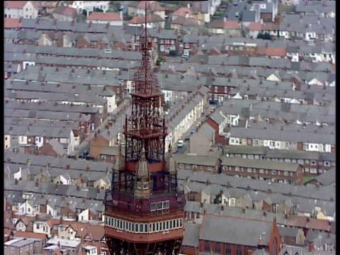 track right around top of blackpool tower - blackpool stock videos & royalty-free footage