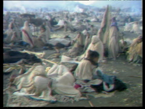 track right over crowd in ethiopian famine; oct 84 - ethiopia stock videos & royalty-free footage
