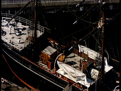 track right over rrs discovery moored in marina dundee - dundee scotland stock videos & royalty-free footage
