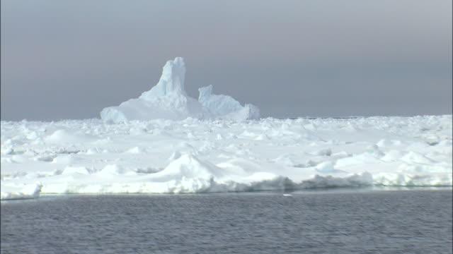 vidéos et rushes de track right past sea with drift ice antarctic - iceberg bloc de glace
