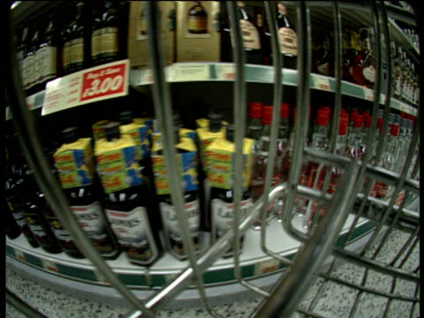 track right through trolley past supermarket shelves - 1997 stock videos and b-roll footage