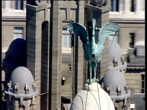 Track round liver bird statue on top of Liver Building Liverpool
