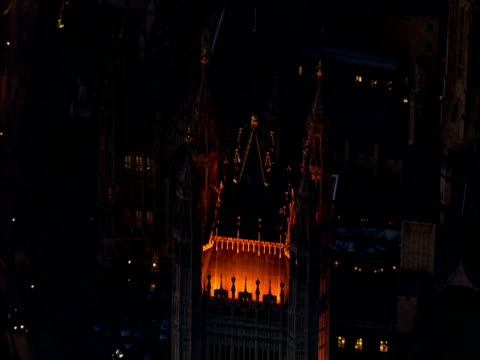 track round victoria tower in the houses of parliament at night - victoria tower stock videos & royalty-free footage