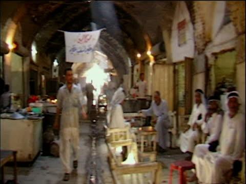 Track through souk market Baghdad