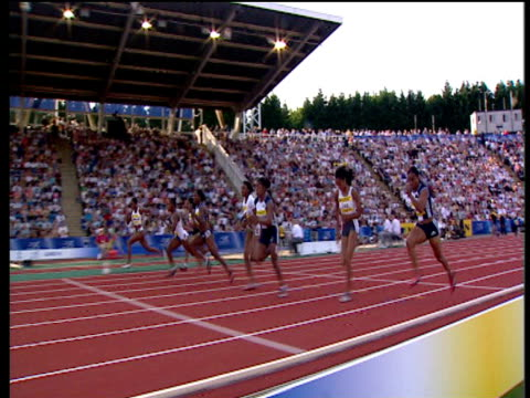 track to follow veronica campbell winning women's 100m 2004 crystal palace athletics grand prix london - championships stock videos & royalty-free footage