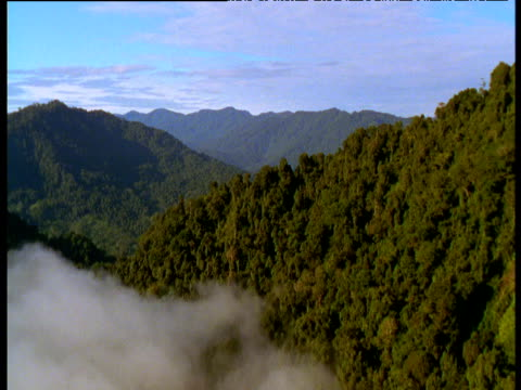 track towards and over cloud shrouded ridge and forest, madang, papua new guinea - hill stock videos & royalty-free footage