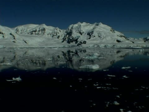 wa track towards mountainous horizon reflected in still sea with ice floes, paradise bay area, antarctic peninsula - antarctic peninsula stock videos & royalty-free footage