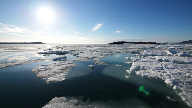 track with ice floes with sun in background - ice floe stock videos & royalty-free footage