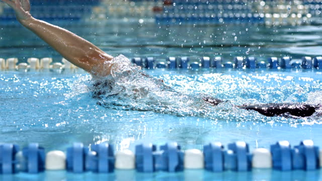 hd slow motion: tracking a woman swimming backstroke - backstroke stock videos & royalty-free footage