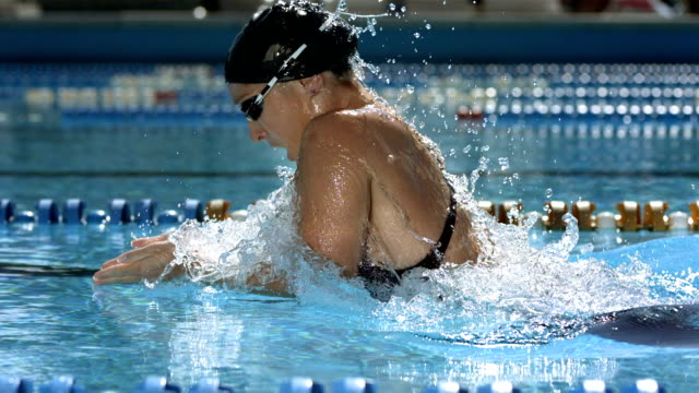 HD SLOW MOTION: Tracking A Woman Swimming Breaststroke