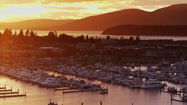 tracking aerial shot of boat pulling in to anacortes marina at sunset - puget sound stock videos & royalty-free footage