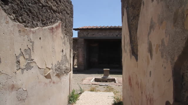 Tracking an ancient courtyard in the once buried city of Pompeii, Napoli
