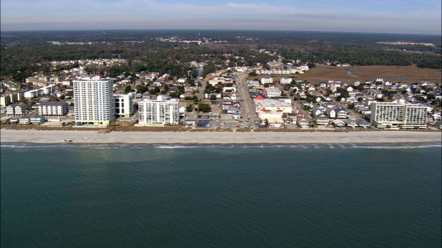 tracking myrtle beach  - aerial view - south carolina,  horry county,  united states - myrtle beach stock videos & royalty-free footage